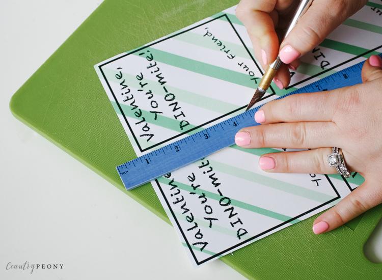 Homemade Dinosaur & Stamp Valentine Cards with Free Printables