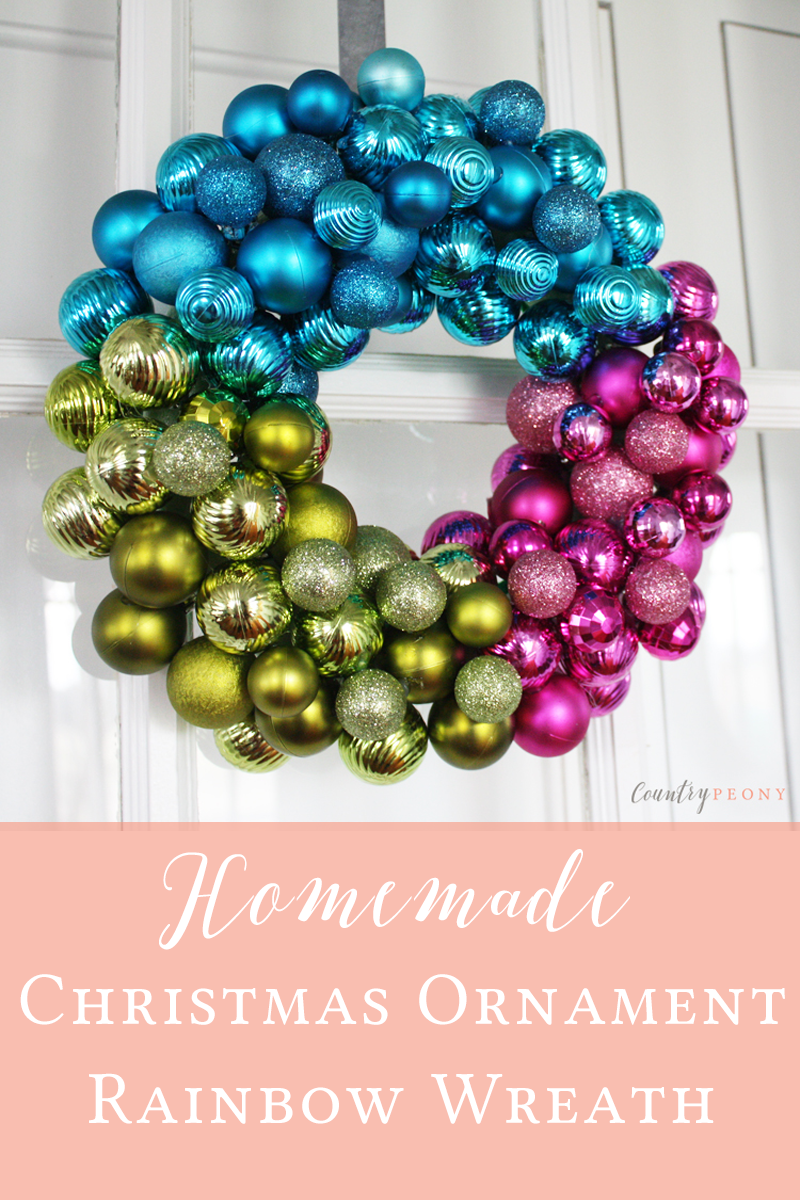 Homemade Christmas Ornament Rainbow Wreath