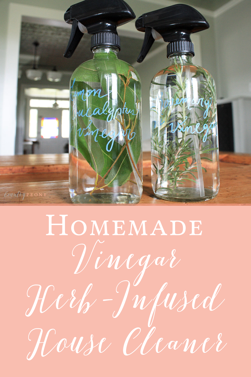 Homemade Vinegar Herb-Infused House Cleaner