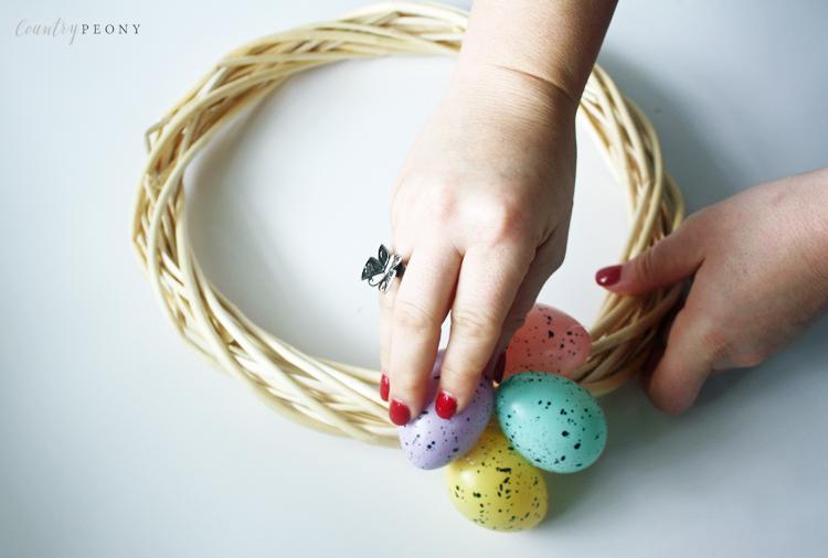 DIY Speckled Egg Dollar Store Easter Wreath