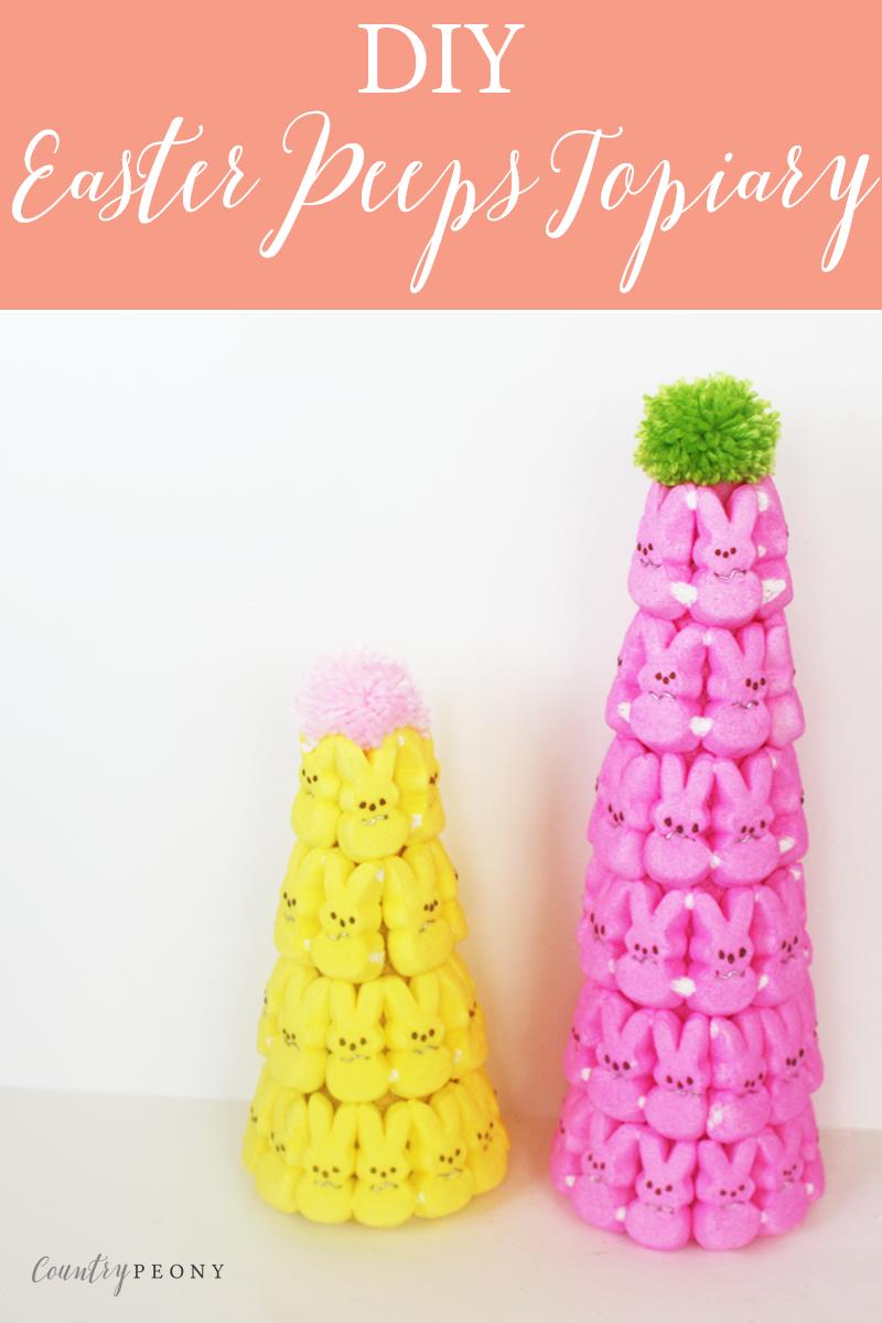 DIY Easter Bunny Peeps Topiary