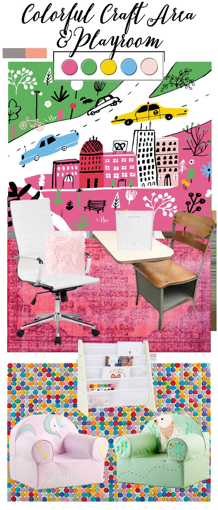 Colorful Craft Area & Playroom Design Board