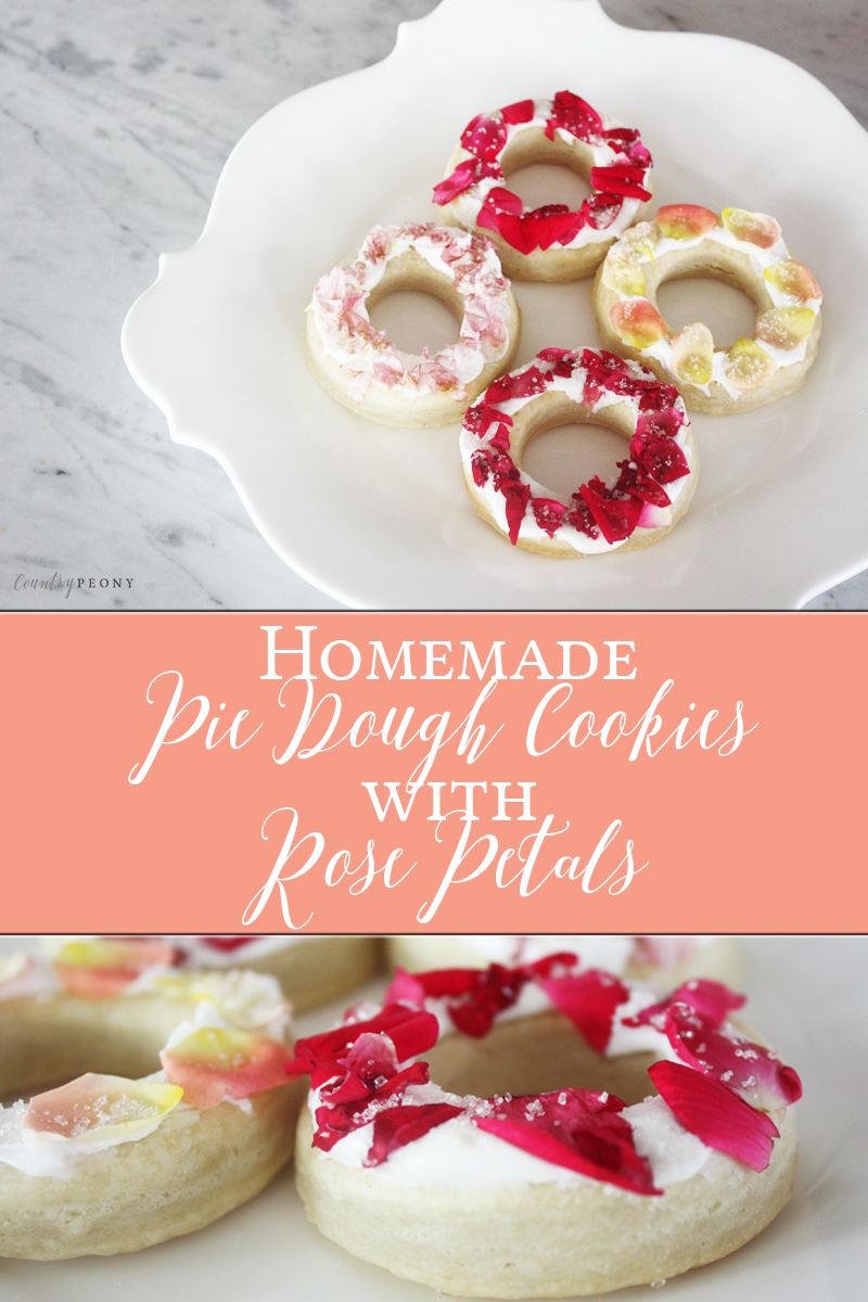 Homemade Pie Dough Cookies with Rose Petals