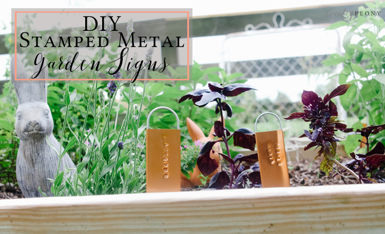 DIY Stamped Metal Garden Signs