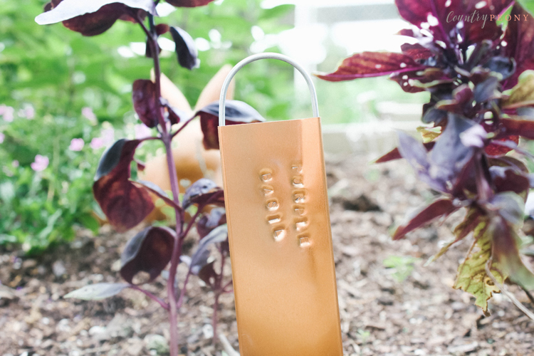 DIY Stamped Copper Metal Garden Signs