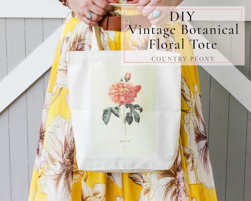 DIY Vintage Botanical Floral Tote