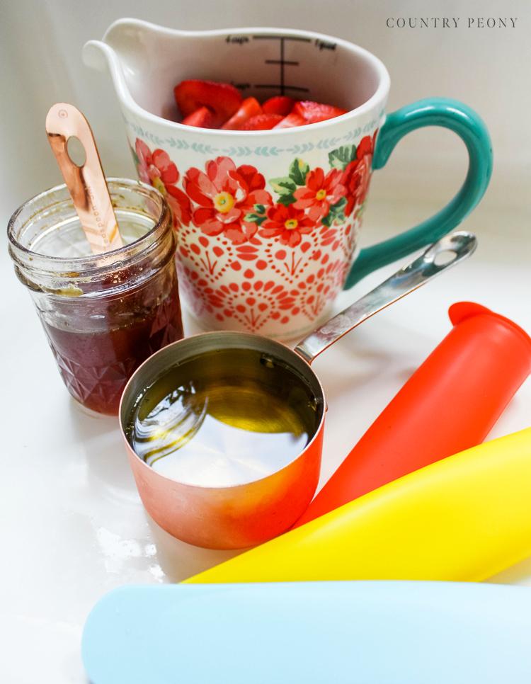 Homemade Strawberry Honey Ice Pops - Homemade Popsicles