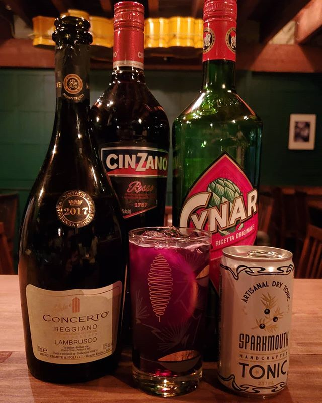 New to the menu alert! The Chokehold. Cynar, Cinzano Rosso, @mediciermete Concerto Lambrusco and Phillips Tonic. Refreshing, bitter and fascinating.