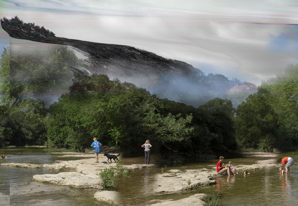 Recreationalists gather on Barton Creek, Austin, Texas