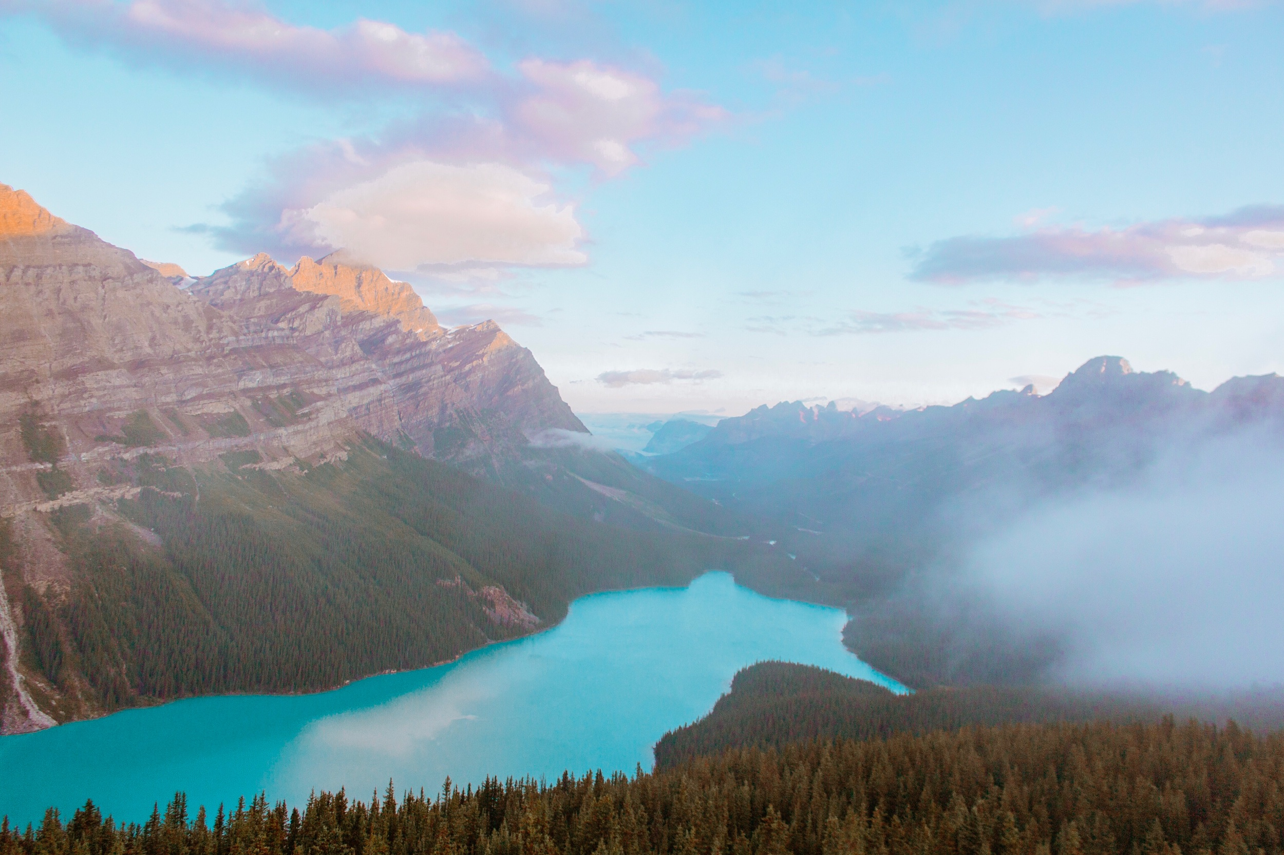 Peyto Lake at Sunrise from the Bow Summit Lookout