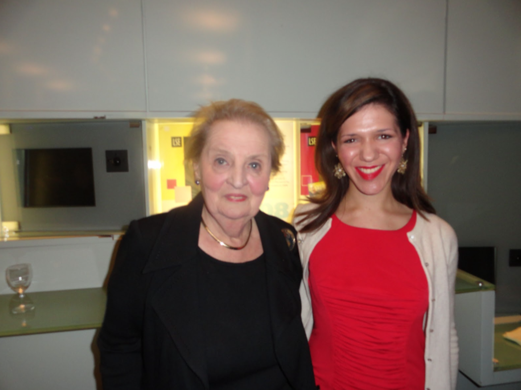 With Former Secretary of State Madeleine Albright as a graduate student at The London School of Economics.