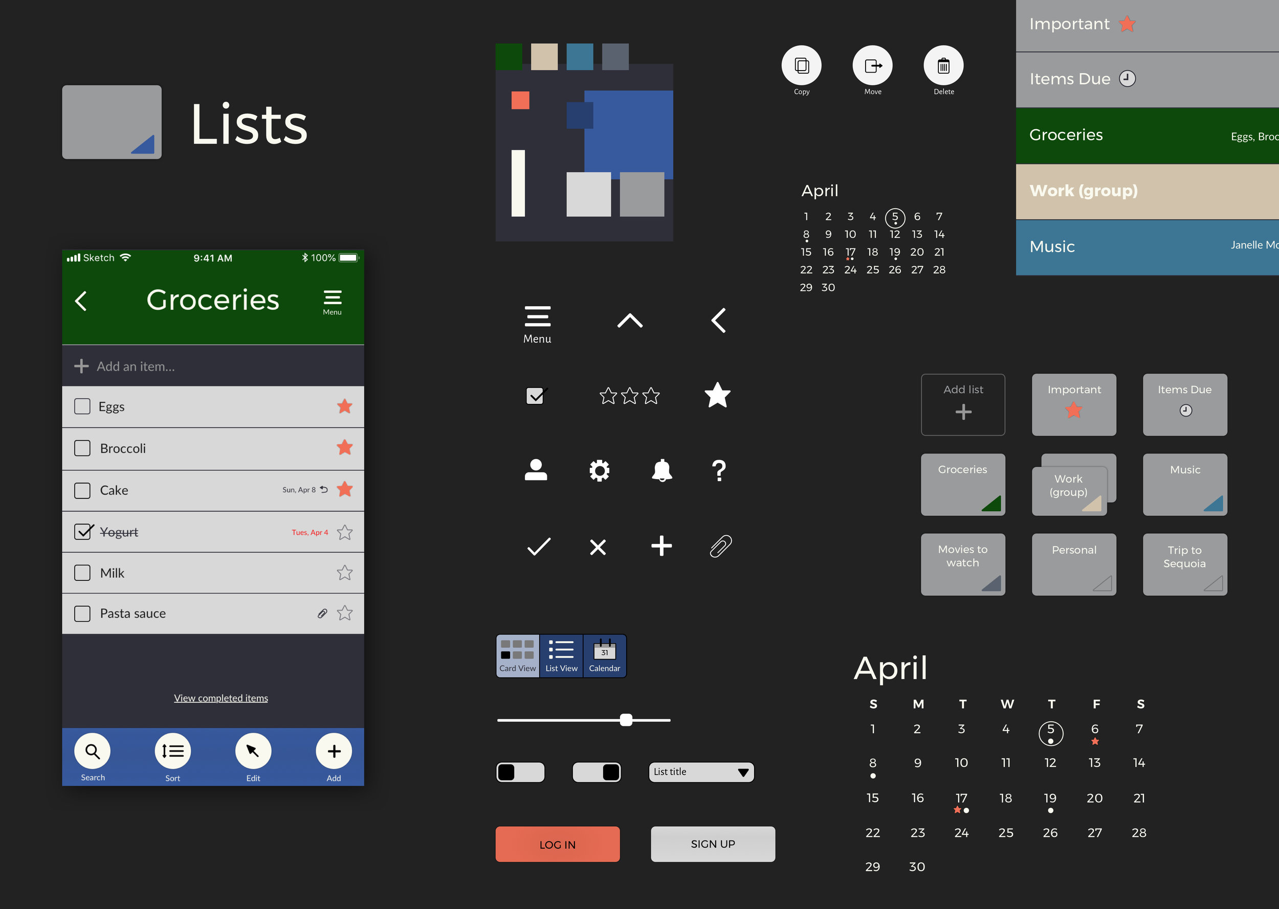 Lists (iOS) - A to-do list app with flexible list managementMobile App | UI/UX | Prototyping