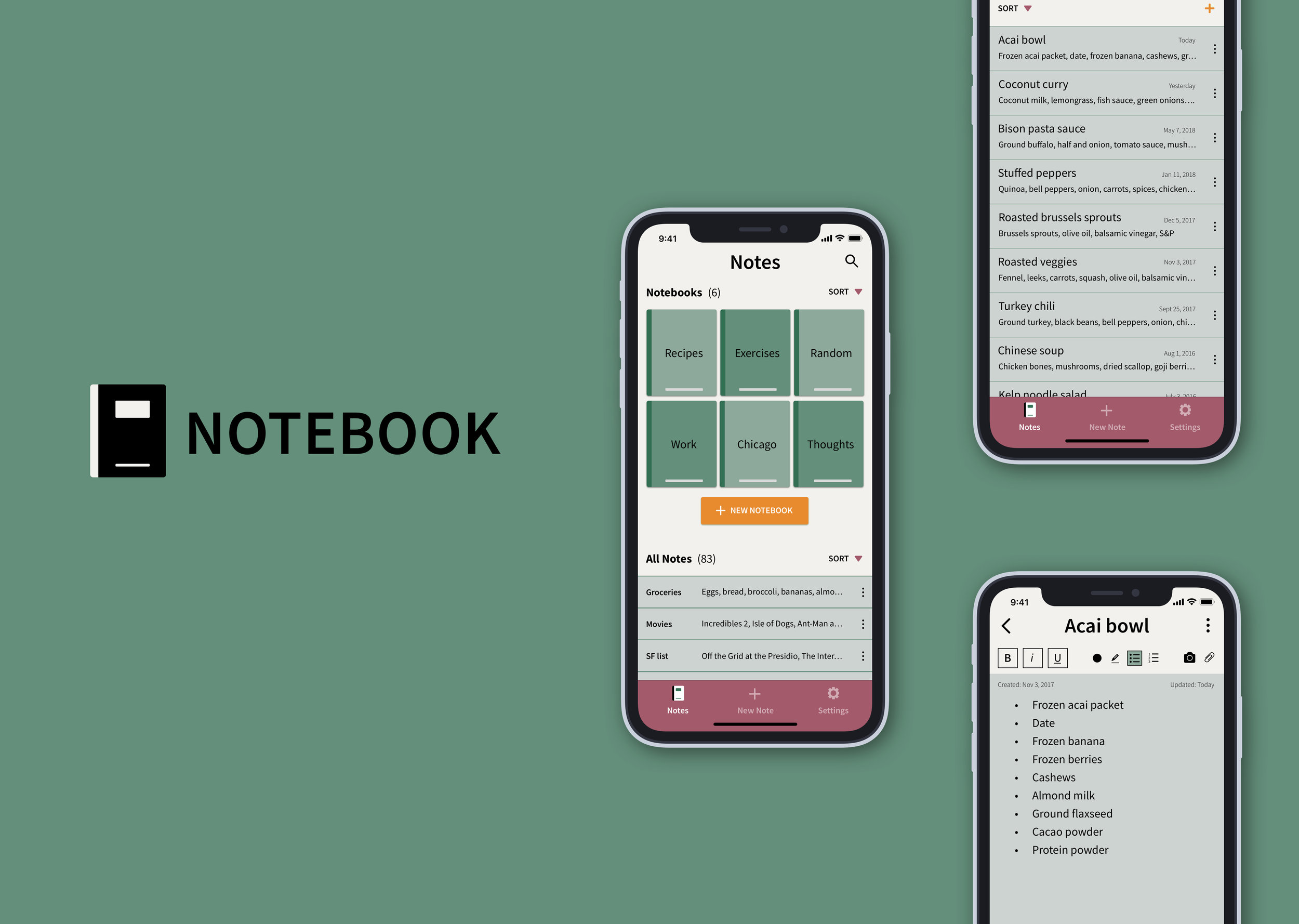 Notebook (iOS) - Sample look and feel for a simple note taking appBranding/Identity | User Interface