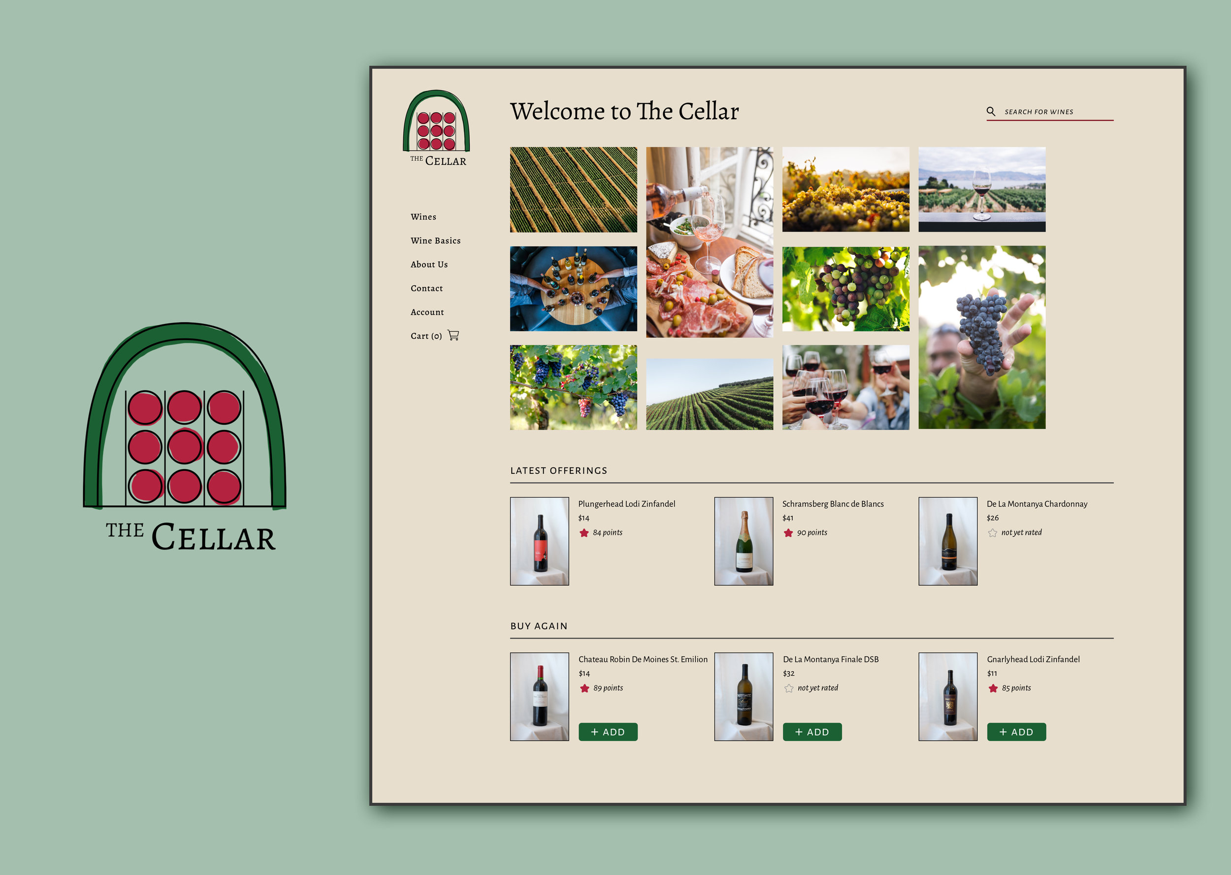 The Cellar - A modern online wine storeBranding/Identity | Responsive Website | Email Template