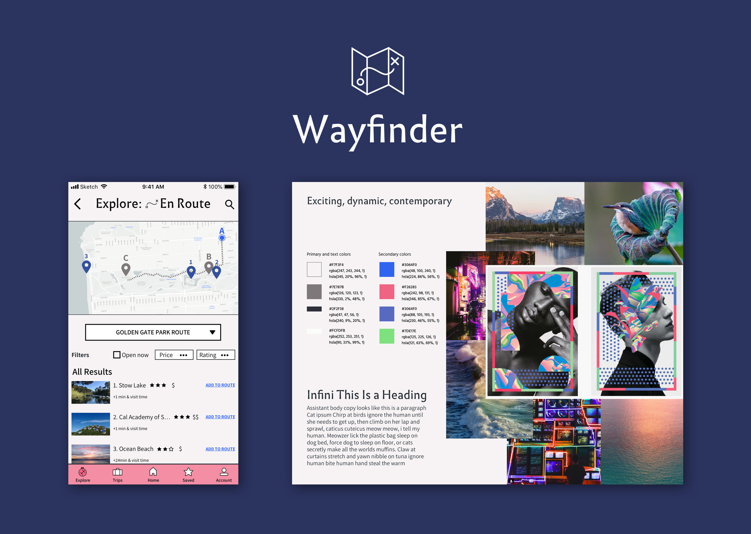 Wayfinder (iOS) - A location-based app that simplifies travel planningNative App | UX/UI | User Research | Prototyping