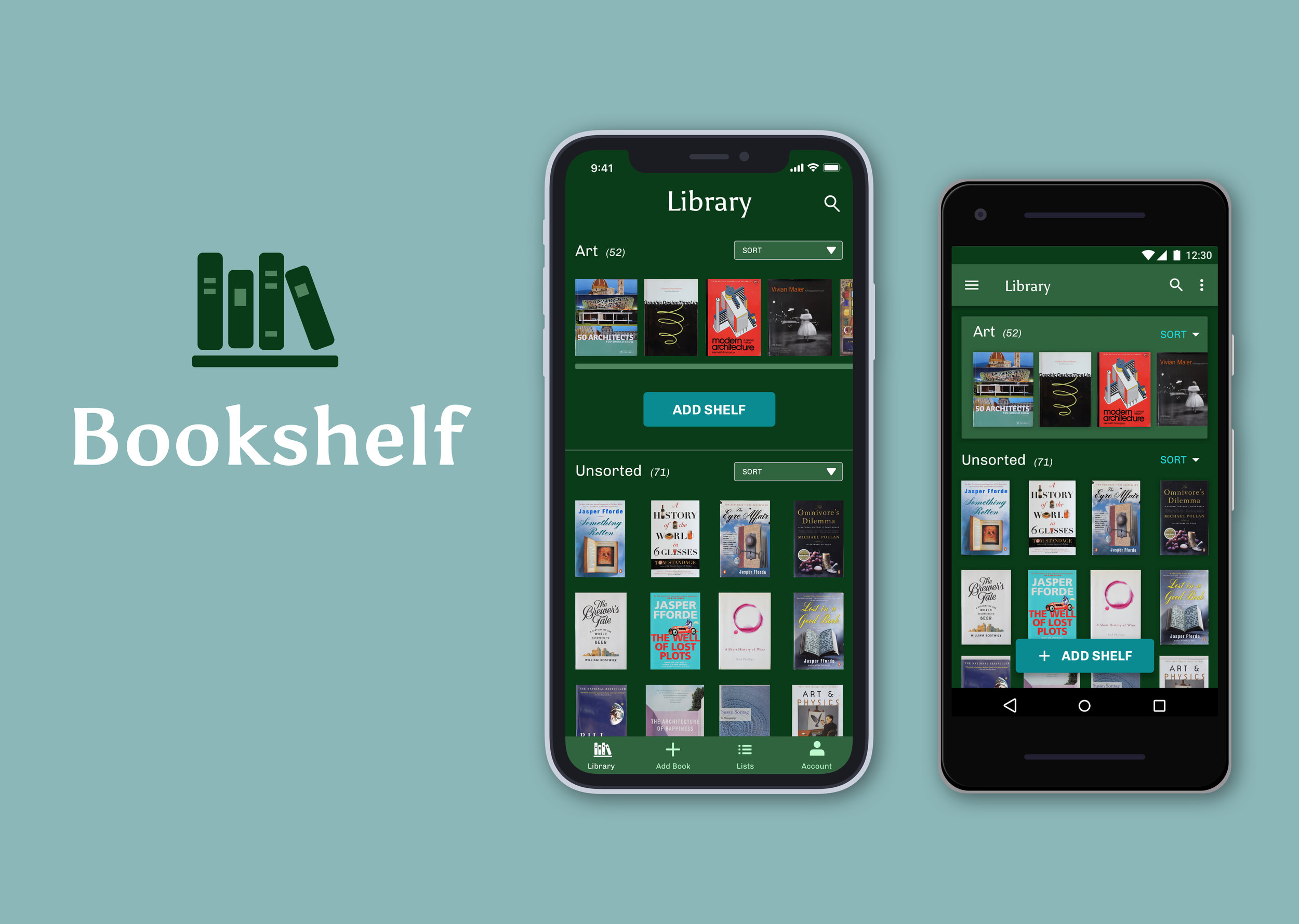 (top) iOS screens for log in, library, shelf, add book, book detail, reading list; (bottom) Android screens for log in, library, shelf, add book, book detail, reading list