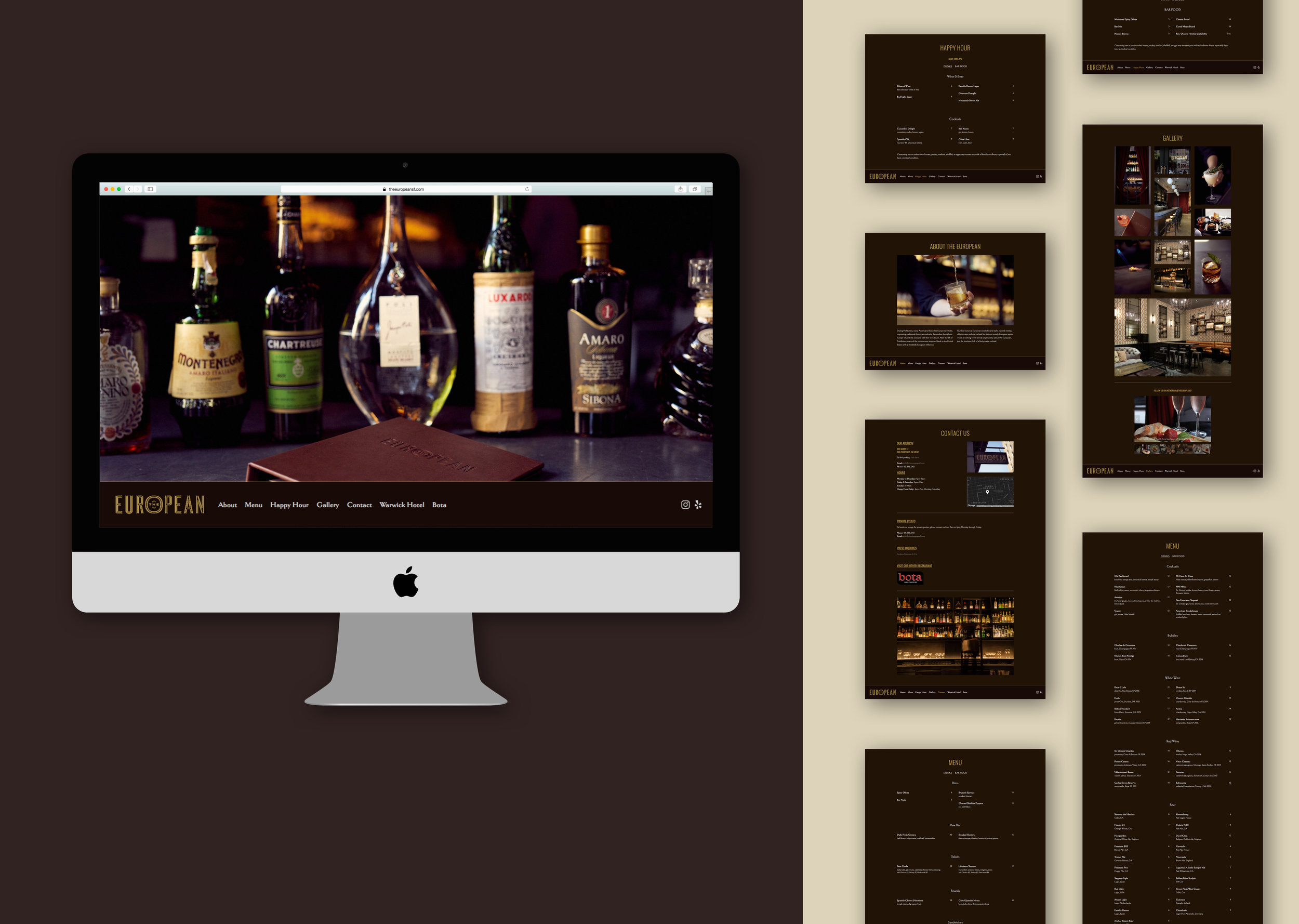 The European - Lounge and bar at the Warwick Hotel San FranciscoWebsite Redesign | IA | Squarespace