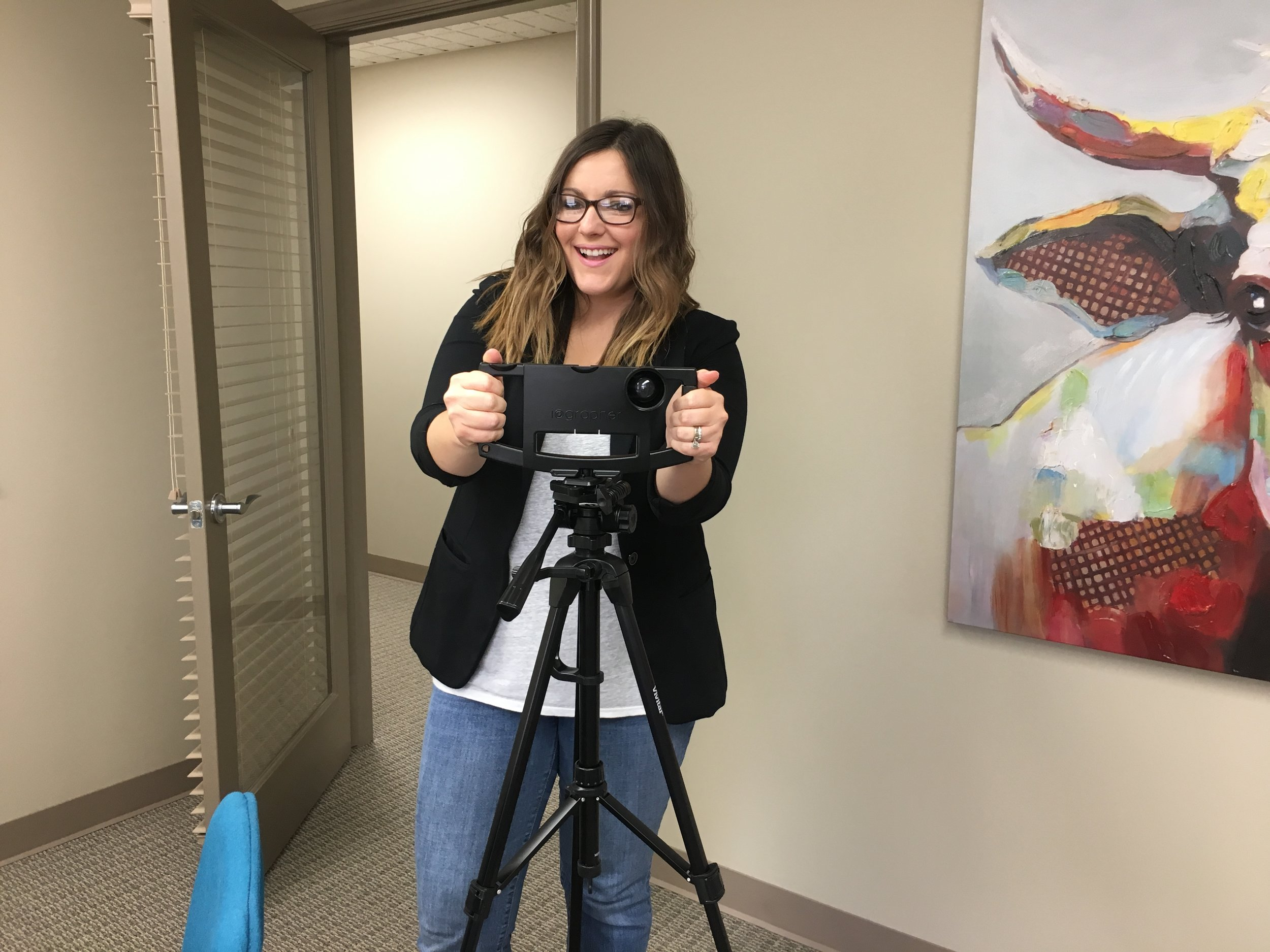 Claire Lemaster with iPhone 6 iOgrapher + wide angle lenses,mounted on 6 ft tripod.