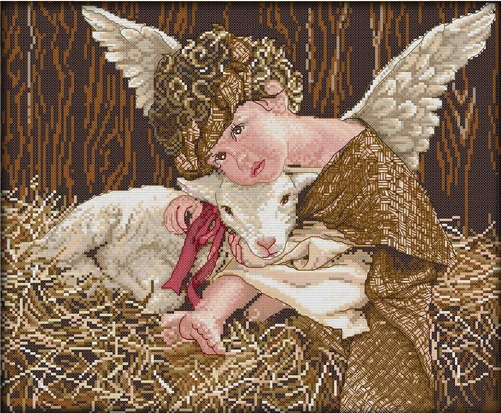 Angels-and-the-lamb-2016-home-Decor-counted-14ct-white-canvas-similar-DMC-Cross-Stitch-kits.jpg