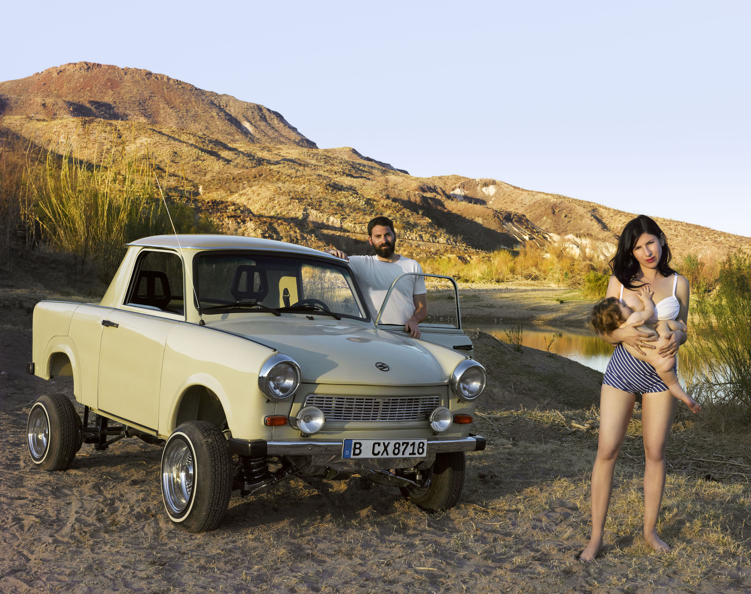 Liz Cohen,  On the River Road with Rafael and Mike , 2012, archival inkjet print
