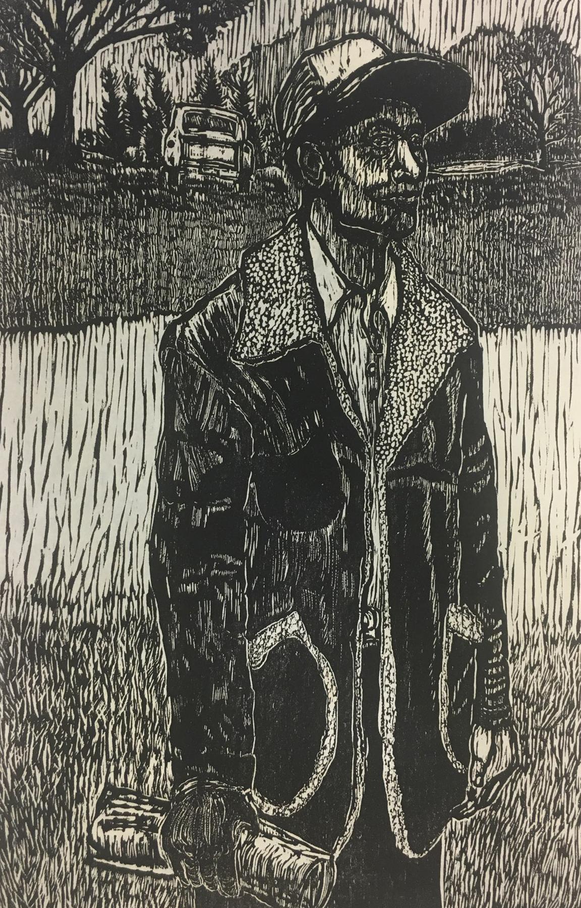 Dennis Winston,  Country Portrait III,  woodcut print