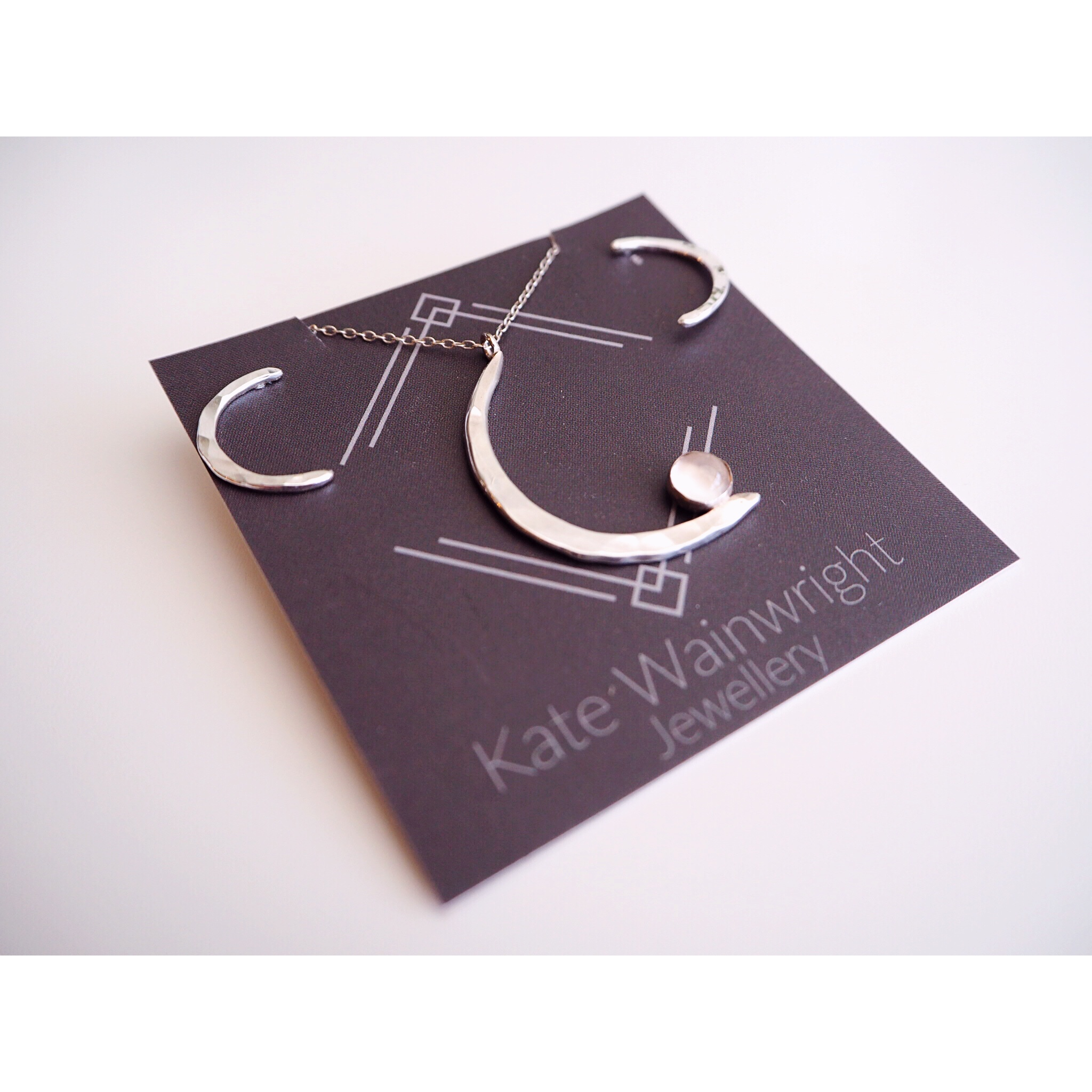 Kate Wainwright Jewellery | Crescent moon pendant with moonstone | crescent mood silver studs