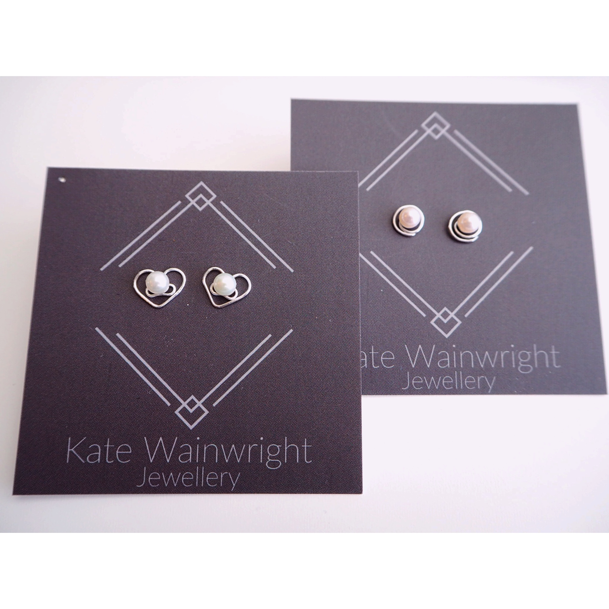 Kate Wainwright Jewellery | Silver and pearl wedding studs Bride and Bridesmaid
