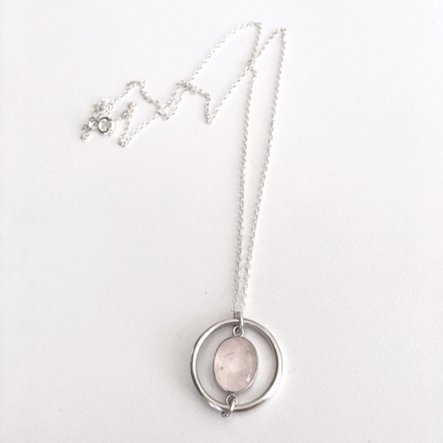 Kate Wainwright Jewellery Silver and Rose Quartz In Your Orbit Necklace