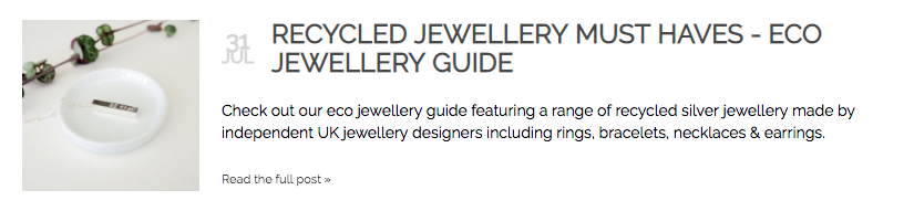 Feature in Wearth London's blog about ethical jewellery. August 2018.