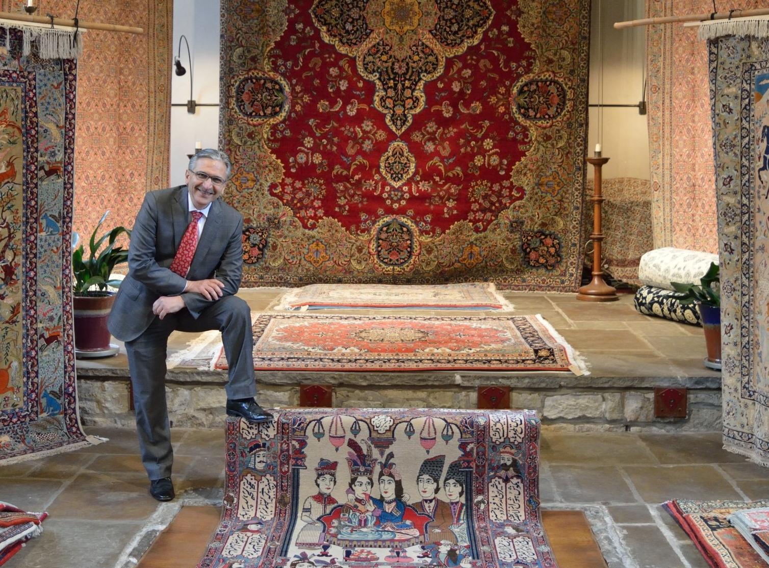 Masoud at the Bakhtiyar exhibition, Medieval hall.JPG