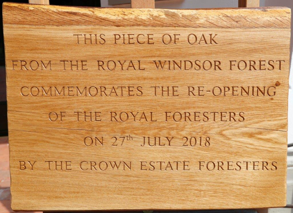 Oak plaque presented by Royal Windsor Foresters to mark re-opening of Royal Foresters Pub Ascot hi res.jpg