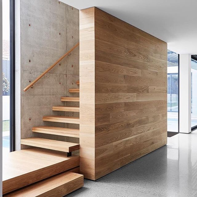Detailed design and delivery by @mckimm. Note the matching American White Oak #featurewall and stair risers? #workswelove . Project | Project 345 Builder | @mckimm Architect | @mckimm Photographer | @davekulesza . Like the look? Let's talk! . . . #architecture_australia #australianarchitecture #architecturehunter #modernarchitect #archilovers #house #timber #timberceiling #timberfeaturewall #timberdecor #themodernhouse #timberdesign