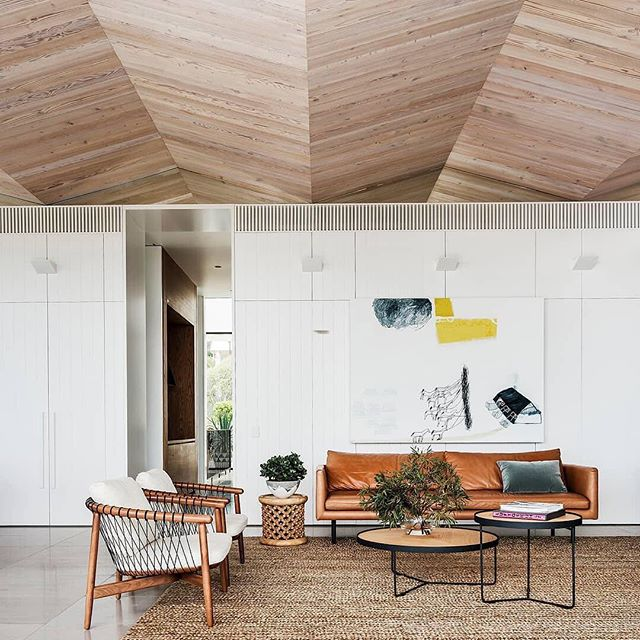 Whitewash ceilings with a twist. Incredible design by Sydney firm MBA. #workswelove . Project | Crescent Head Beach House Architect | @madeleineblanchfieldarchitects Builder | TBC Photographer | @robertwphoto . Achieve the look with our prefinished whitewash timber lining boards. . . . #architecture_australia #australianarchitecture #architecturehunter #modernarchitect #archilovers #house #timber #timberceiling #timberfeaturewall #timberdecor #themodernhouse #timberdesign