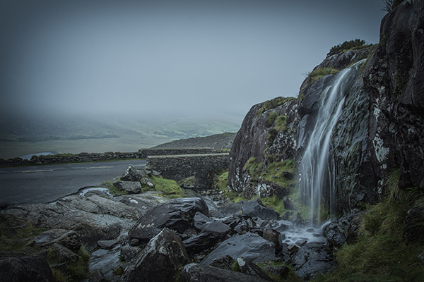 Waterfall at the layby - climb from here to Lough Doon