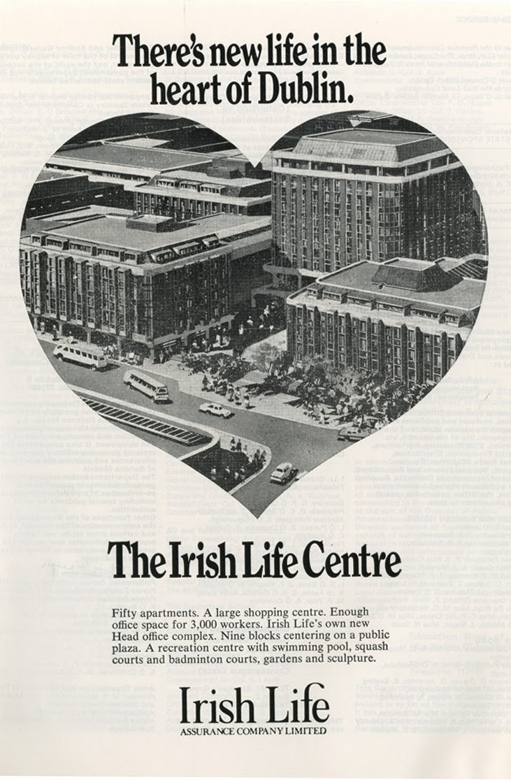 Advert for the planned Irish Life Centre from 1977 - found in  Brand New Retro