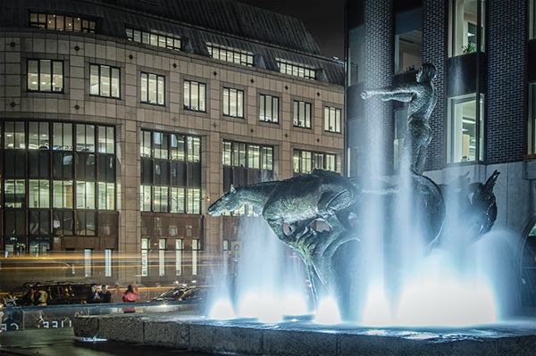 Oisín Kelly's Chariot of Life sculpture in the front forecourt, facing Abbey Street