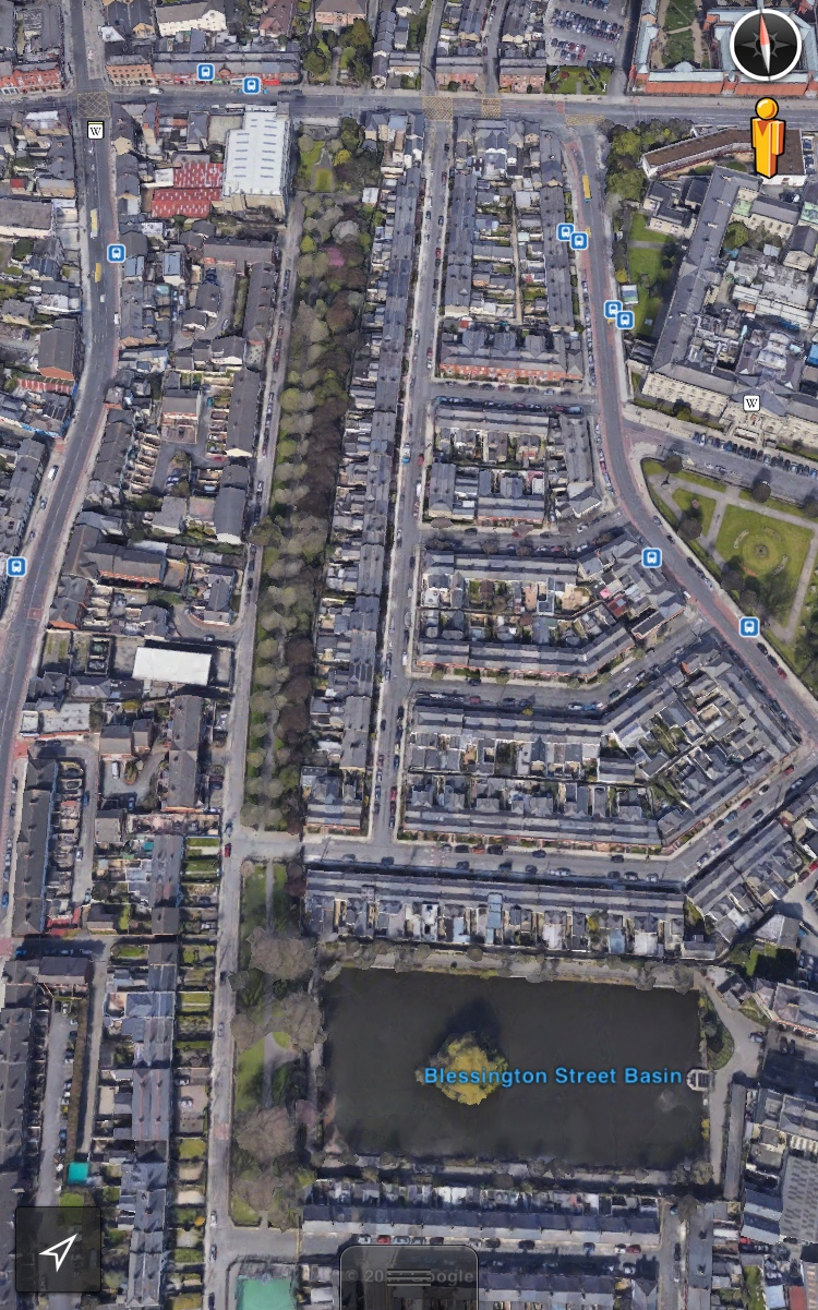 Blessington Street Park to the west of the Blessington Basin - image from Google Earth