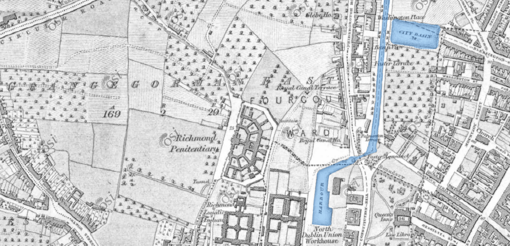 Ordinance survey Ireland 1837-1842 with the Broadstone line coloured blue