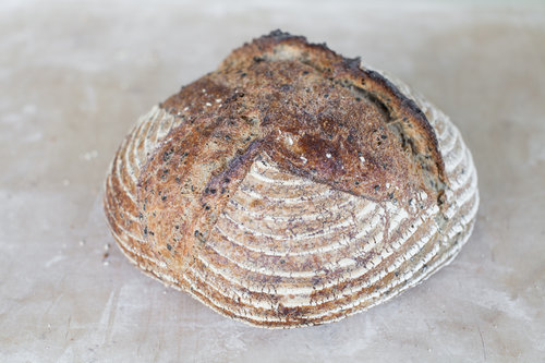 The Black Sesame   Ingredients: Rye starter, Organic wholemeal and light wheat, black Sesame, Salt, Water,