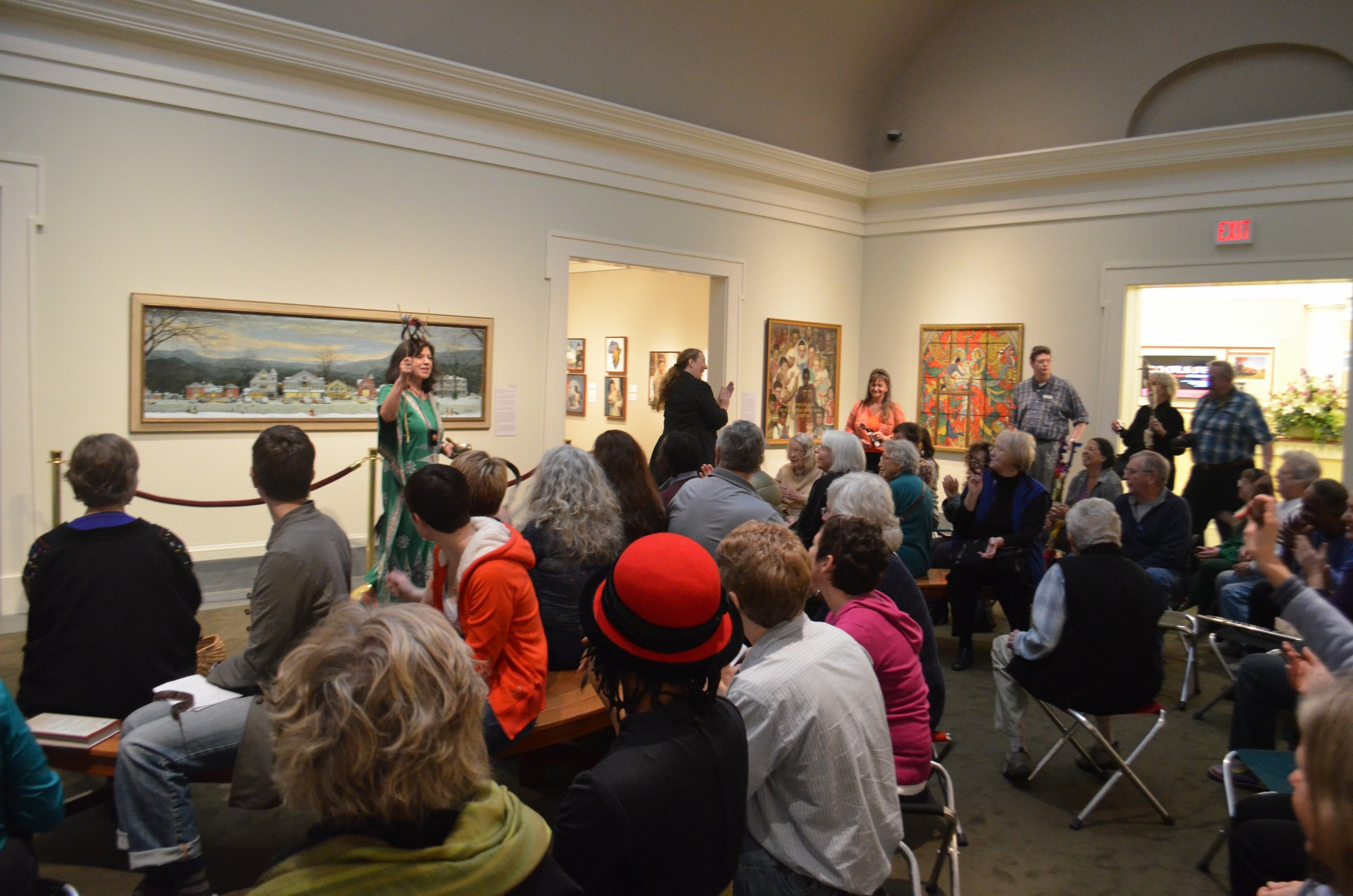"Call and response in ""Karaoke Confession"" - holding locust pod jimmy jangle in the main gallery Norman Rockwell Museum photo:Tammis Coffin"