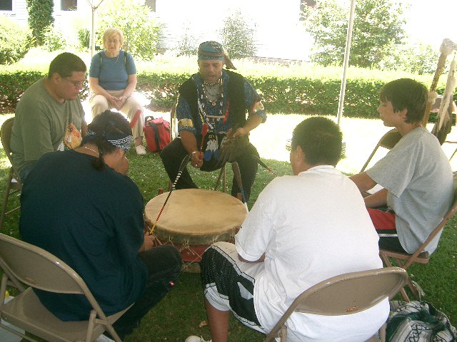 Mohican Drum group in front of Stockbridge library