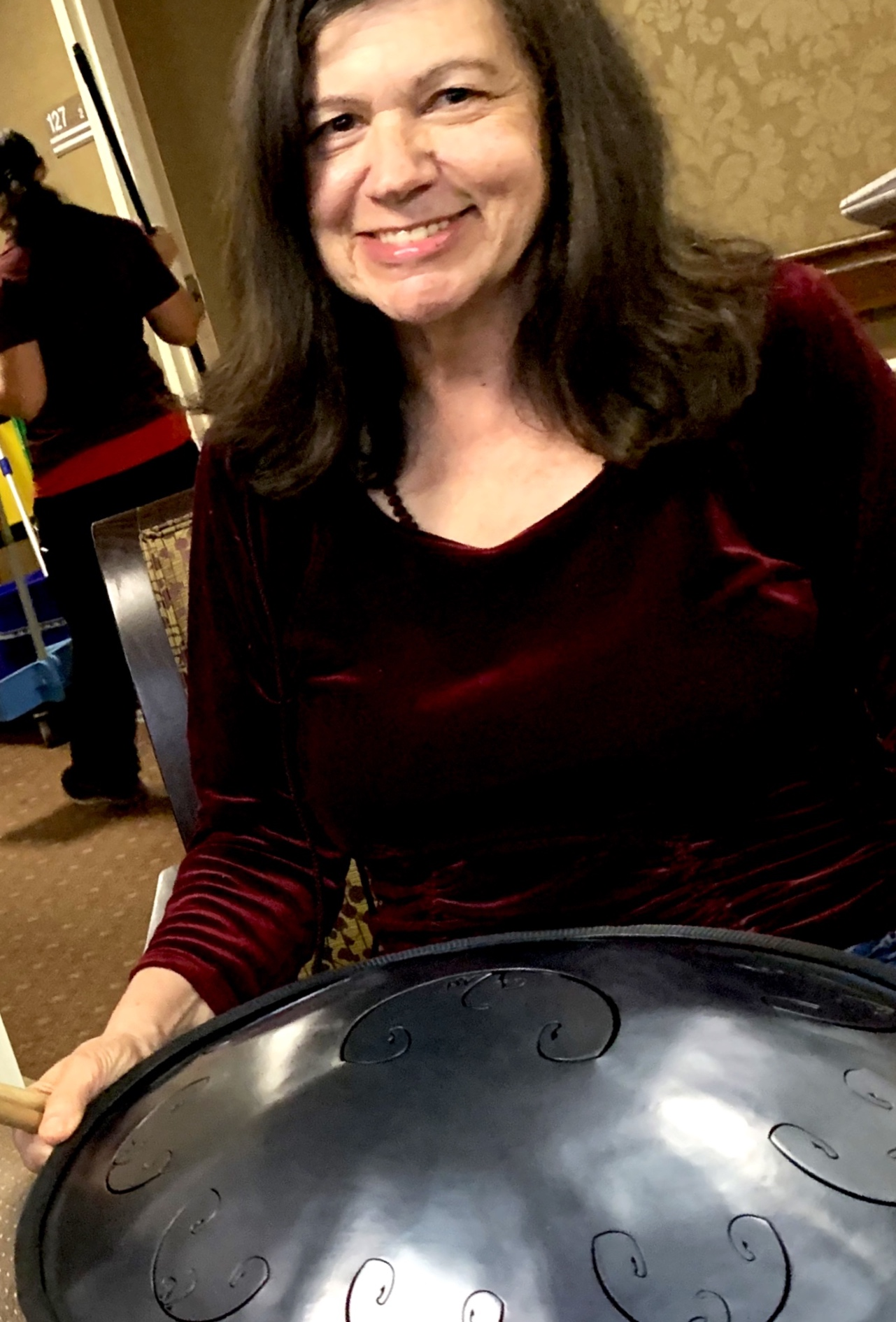 Bringing the RAV drum with me, playing for a group gathered round the nurse's station