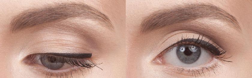 Natural Liner – natürlicher Lidstrich - Mit dieser Eyeliner-Form wird der Augenwinkel optisch angehoben und das Auge auf diese Weise betont und geliftet. Der natürliche Lidstrich beginnt mit einer dünnen Line im inneren Augenwinkel und wird entlang des Wimperkranzes aufgetragen. Dabei nimmt die Dicke in Richtung äußerem Winkel zu –bis am Ende ein Keil entsteht.1. Die Basis bildet die gleiche Methode wie das Auftragen des geraden Lidstriches, indem du zunächst eine feine Linie ziehst.2. Platziere dann die Spitze des Pinsels in Richtung des höchsten Punktes des Keils. (Tipp: Um den Lifting-Effekt zu erzeugen und den Keil richtig zu platzieren, orientiere dich an der Kante der unteren Wasserlinie.) Hier ist es sehr wichtig, nicht über diese Grenze hinaus zu gehen, um den Effekt zu erzeugen.3. Starte nun am höchsten Punkt des Keils und ziehe die Pinselspitze flach in Richtung Mitte des Auges. Folge dabei der Rundung des Auges und wiederhole diesen Schritt so oft, bis die gewünscht Dicke erreicht ist. Diese Methode kannst du für das Auftragen von Flüssig- und Gel-Eyelinern benutzen, ebenso wie zum Auftragen von feuchten Lidschatten. Um ein weniger intensives Ergebnis mit sanfteren Übergängen zu erzeugen, kannst du am Ende die Kanten mit dem leicht angefeuchteten #210-Pinsel verblenden. Noch zurückhaltender wird das Ergebnis bei Benutzung eines Eyeliner-Stiftes oder trockenen Lidschattens.