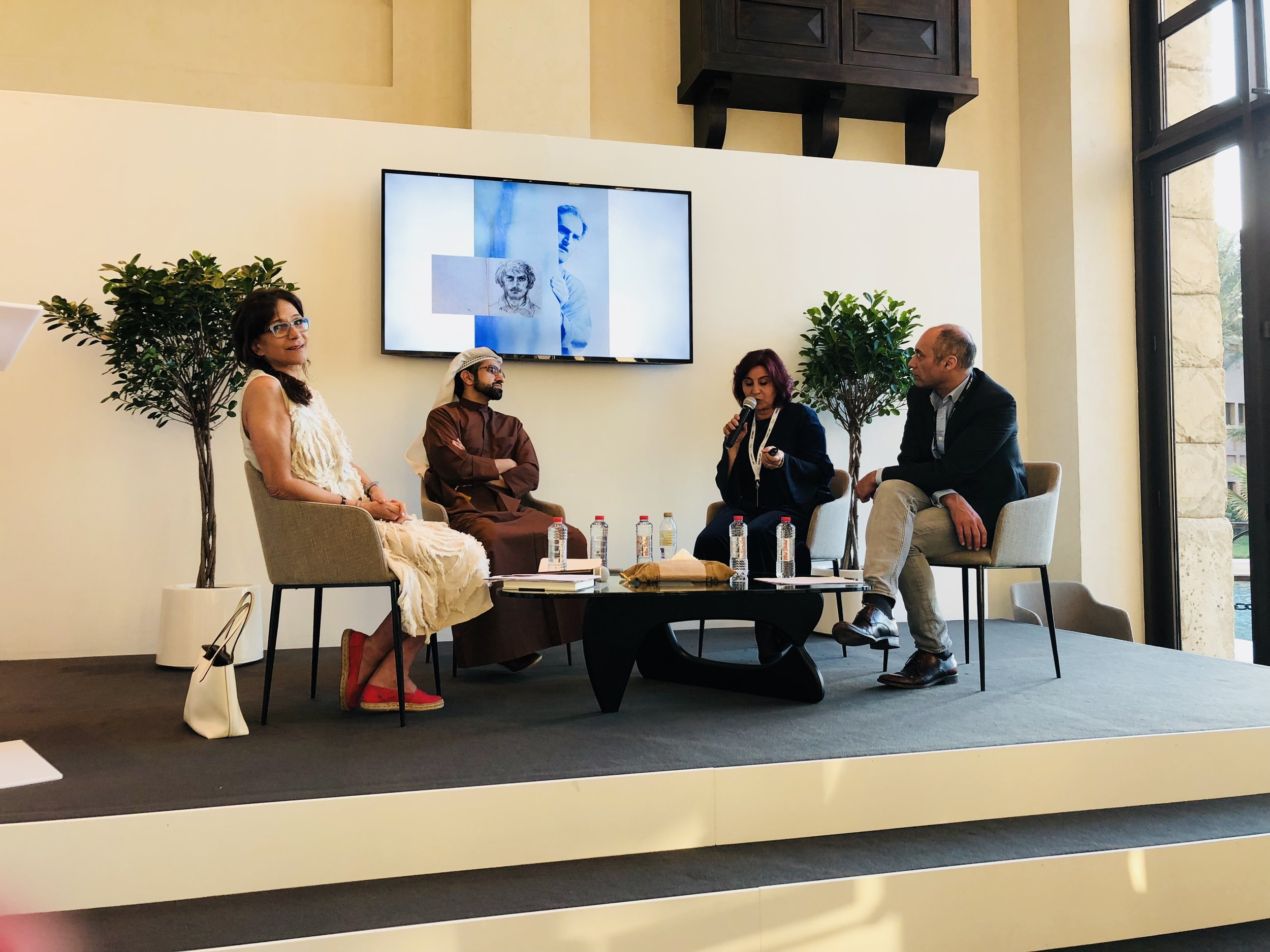 The panel of the Ali Jabiri talk; Rula Atalla, Sheikh Sultan Al Qasimi, and Suha Lalas (from left to right)