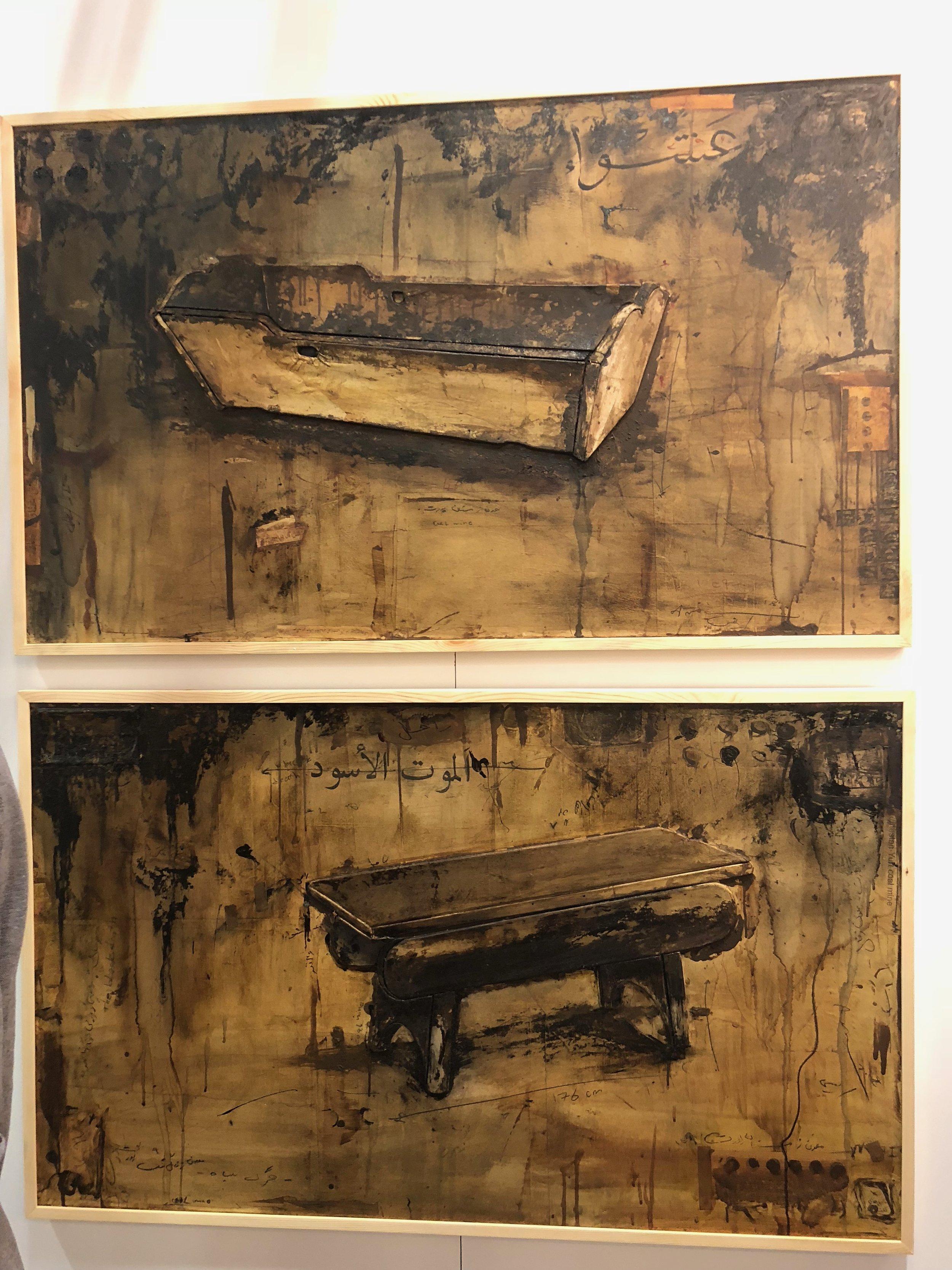 Mojtabi Amini's mixed media works at Mohsen Gallery