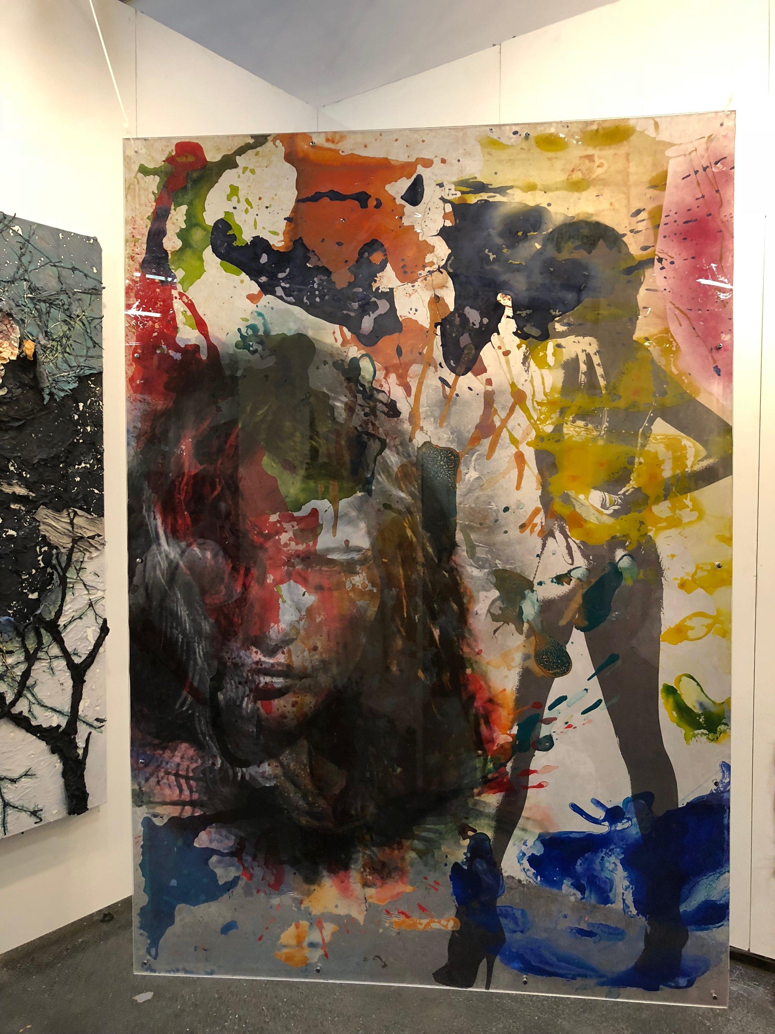 Double sided art on glass! Bedri Baykam at Piramid Sanat