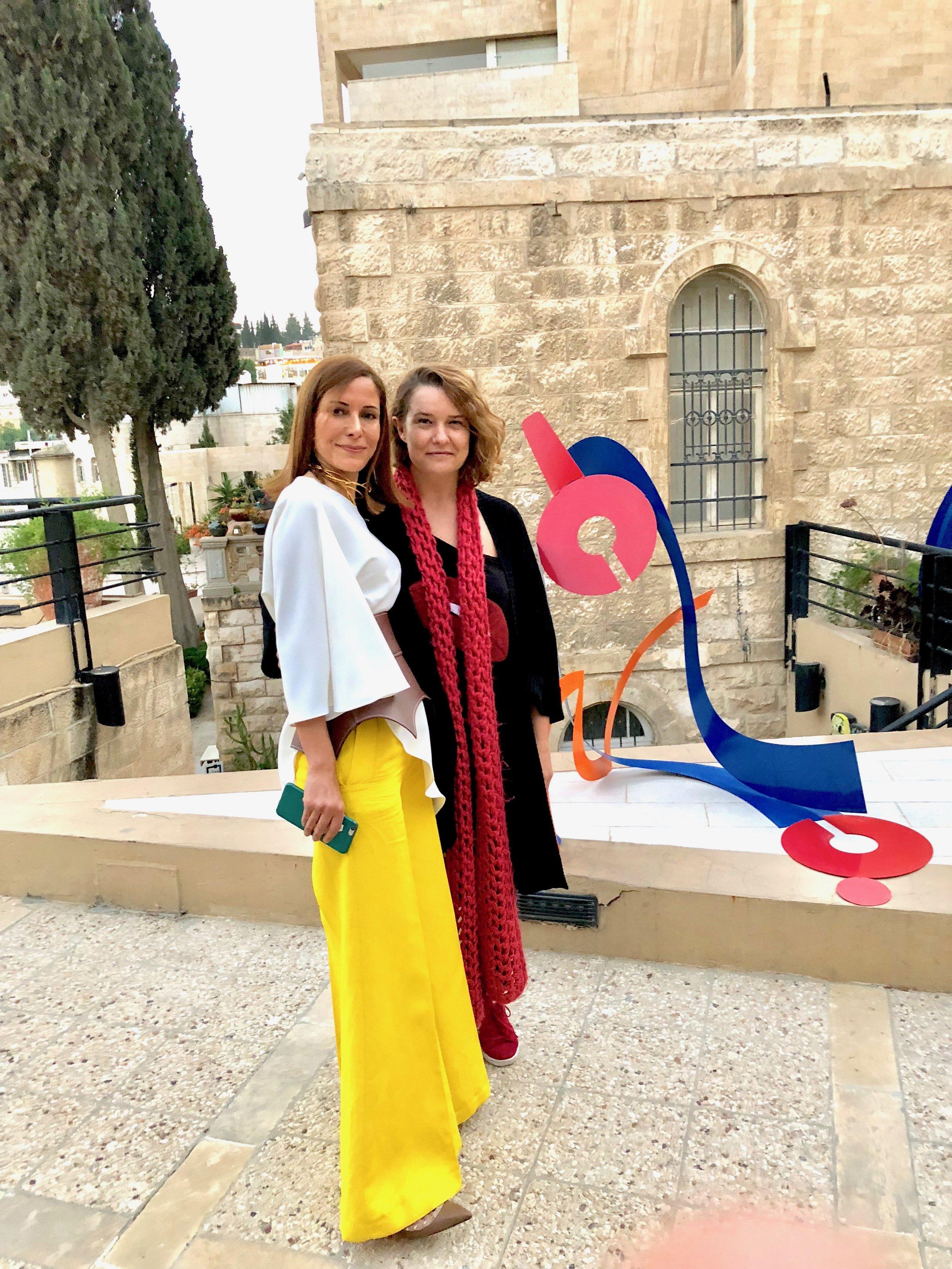 With artist Amani Hindawi Ayoubi