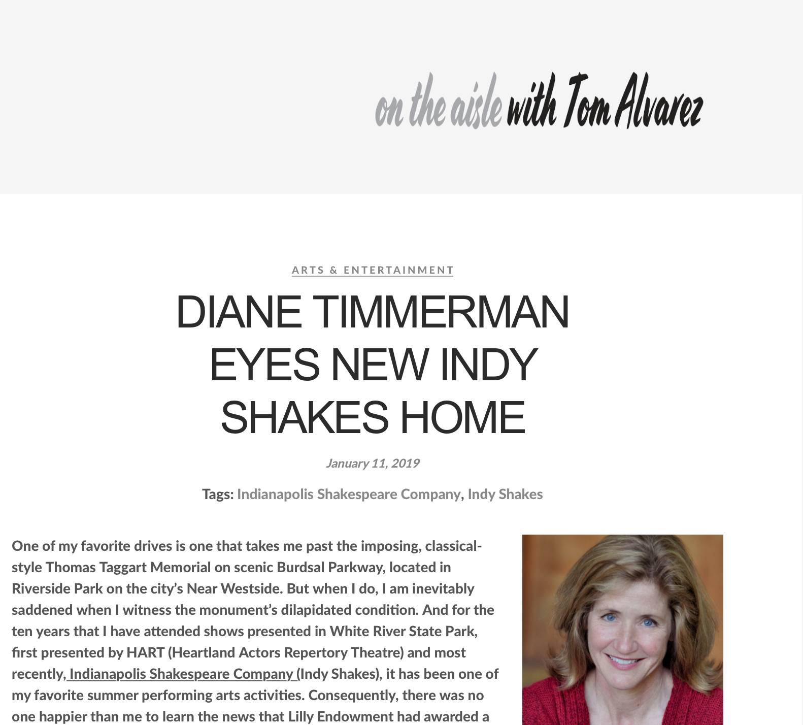 Diane Timmerman Eyes New Indy Shakes Home - An article by Tom Alvarez on Indy Shakes' new home in Riverside Park. Click to read.