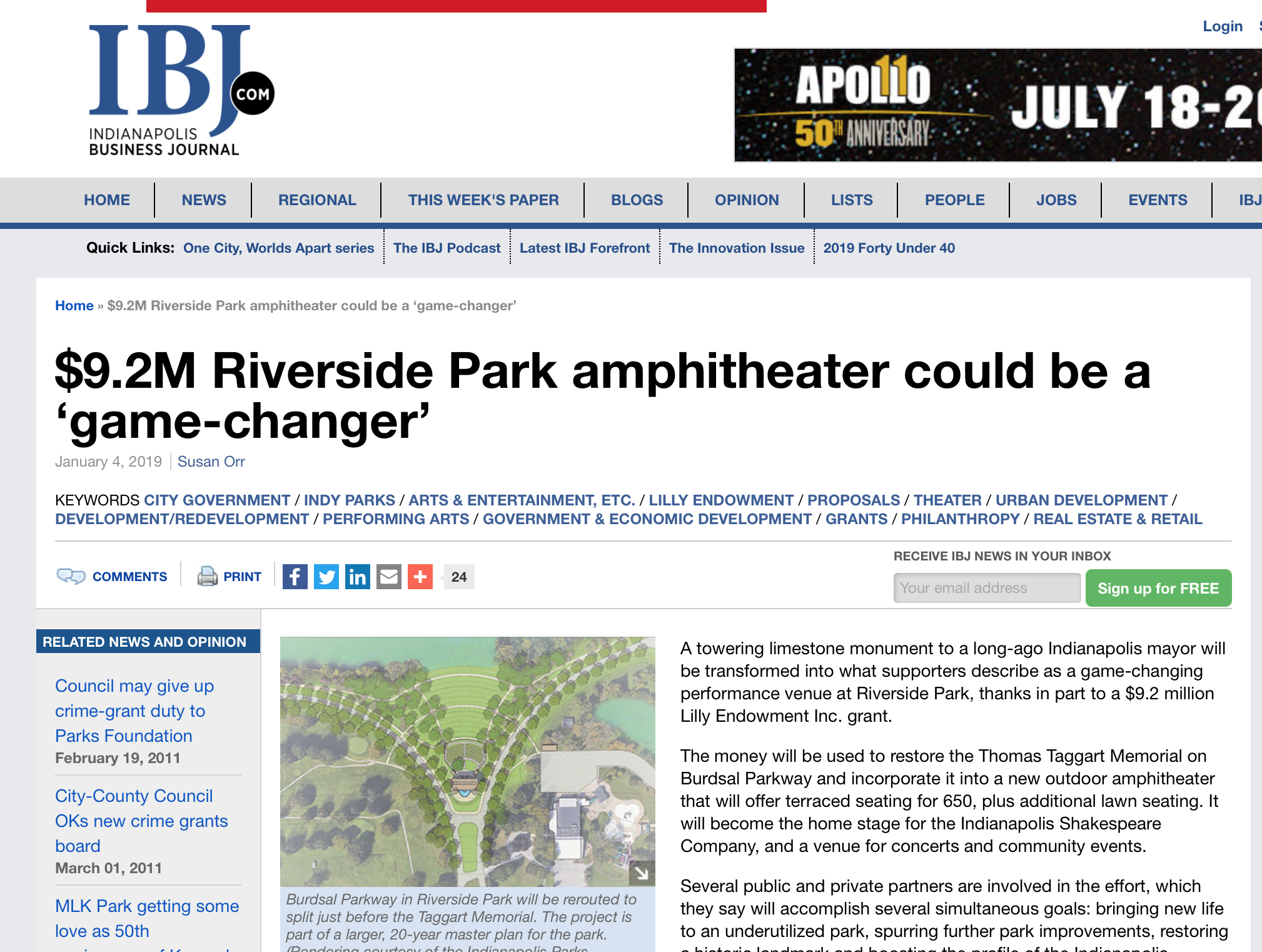 $9.2M Riverside Park amphitheater could be a 'game-changer' - An article by IBJ's Susan Orr about the renovations of the Taggart Memorial in Riverside Park and the organizations, including Indy Shakes, that are involved in the project. Click to read.