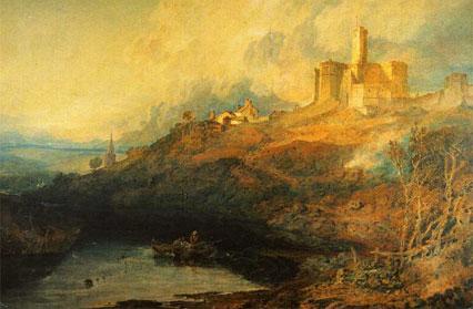 JMW Turner - Warkworth Castle, Northumberland - Thunder Storm Approaching at Sunset